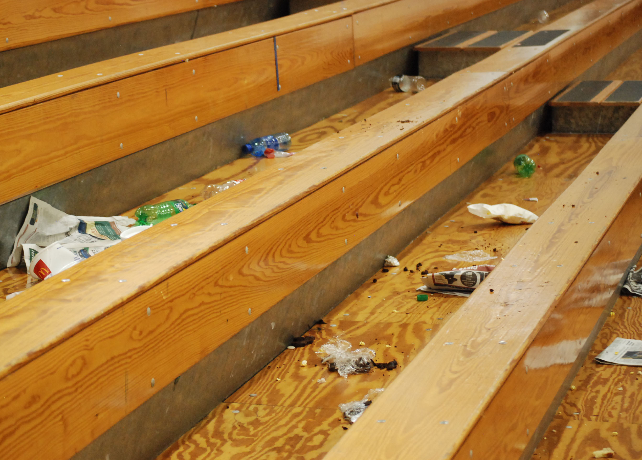 The bleachers after students left the gym after watching the home-opener against Parkway North.