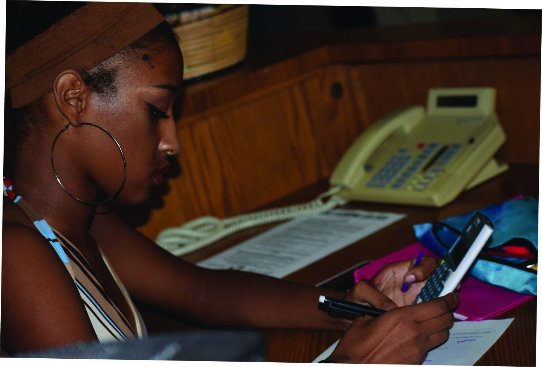 Student Marissa Wright works on math homework
