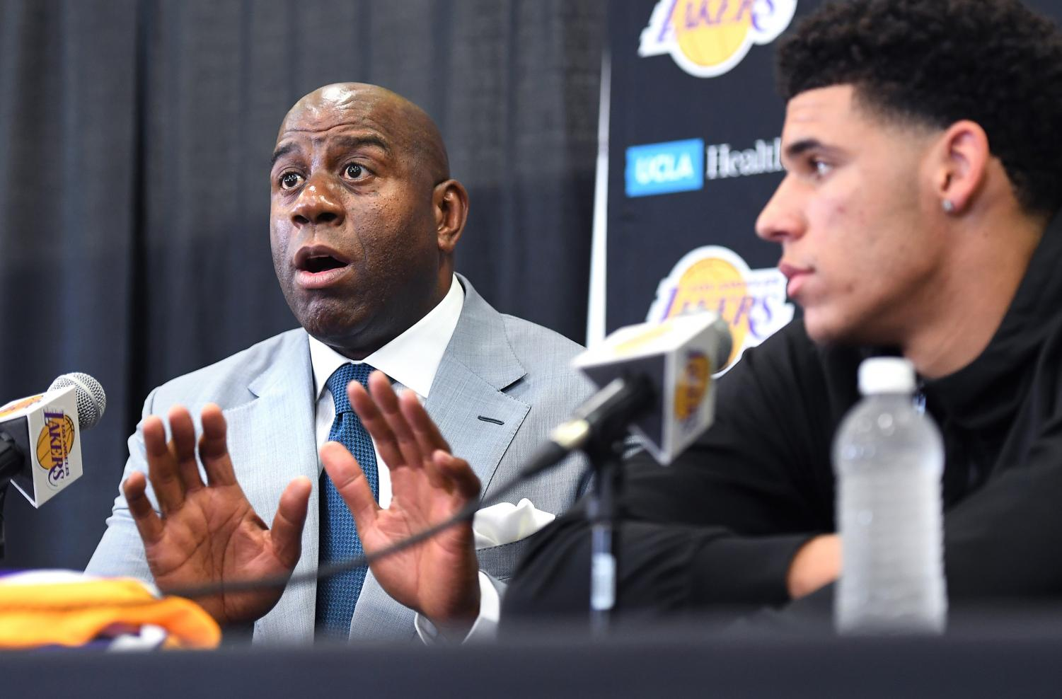 Los Angeles Lakers President of Basketball Operations Magic Johnson speaks during a news conference introducing the Lakers' first-round draft pick, second overall, Lonzo Ball at the team's training facility in El Segundo, Calif., on Friday, June 23, 2017. (Wally Skalij/Los Angeles Times/TNS)