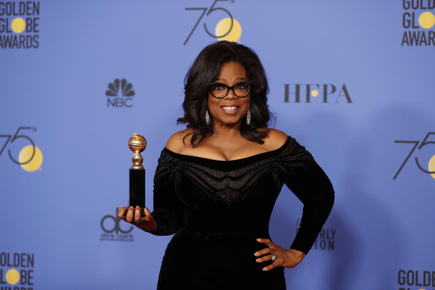 Oprah Winfrey backstage at the 75th Annual Golden Globes at the Beverly Hilton Hotel in Beverly Hills, Calif., on Sunday, Jan. 7, 2018. (Allen J. Schaben/Los Angeles