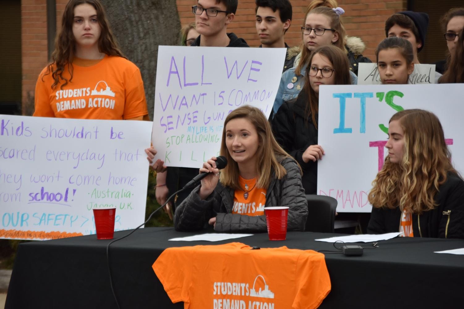 Senior Hannah Maurer speaks at a press conference hosted by Colts Demand Action.