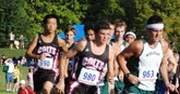 Stephen He and Scott Coulson running in the Webster Invitational. Photo by Brendan Hynes