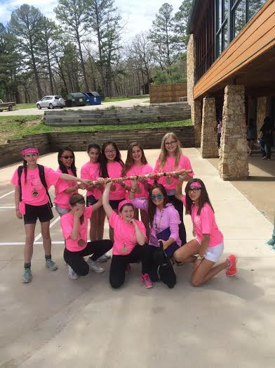 Lexie Winter and her cabin the Pink Monkeys at 6th grade camp. Photo by Ben Kraizer