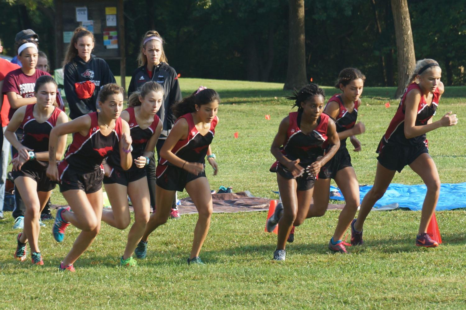 The girls varsity cross country team leaps forward as the starting gun goes off at the Parkway Quad meet.