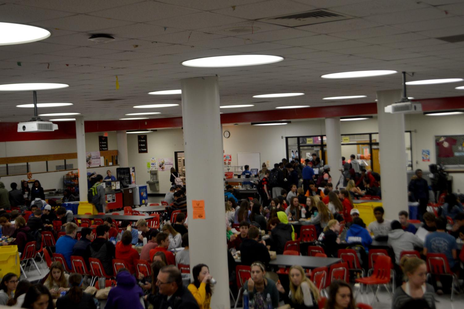 All grades eating lunch.