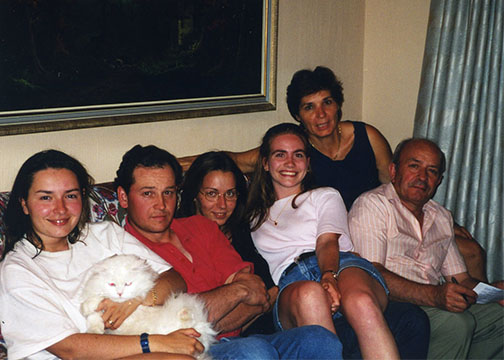 Andrea Williamson with her host family. Left to right, Maite (the sister), Eduardo (Maite's fiance), Virgina (the other sister), Williamson, the mother and the father.  (Photo by Andrea Williamson, 1997)