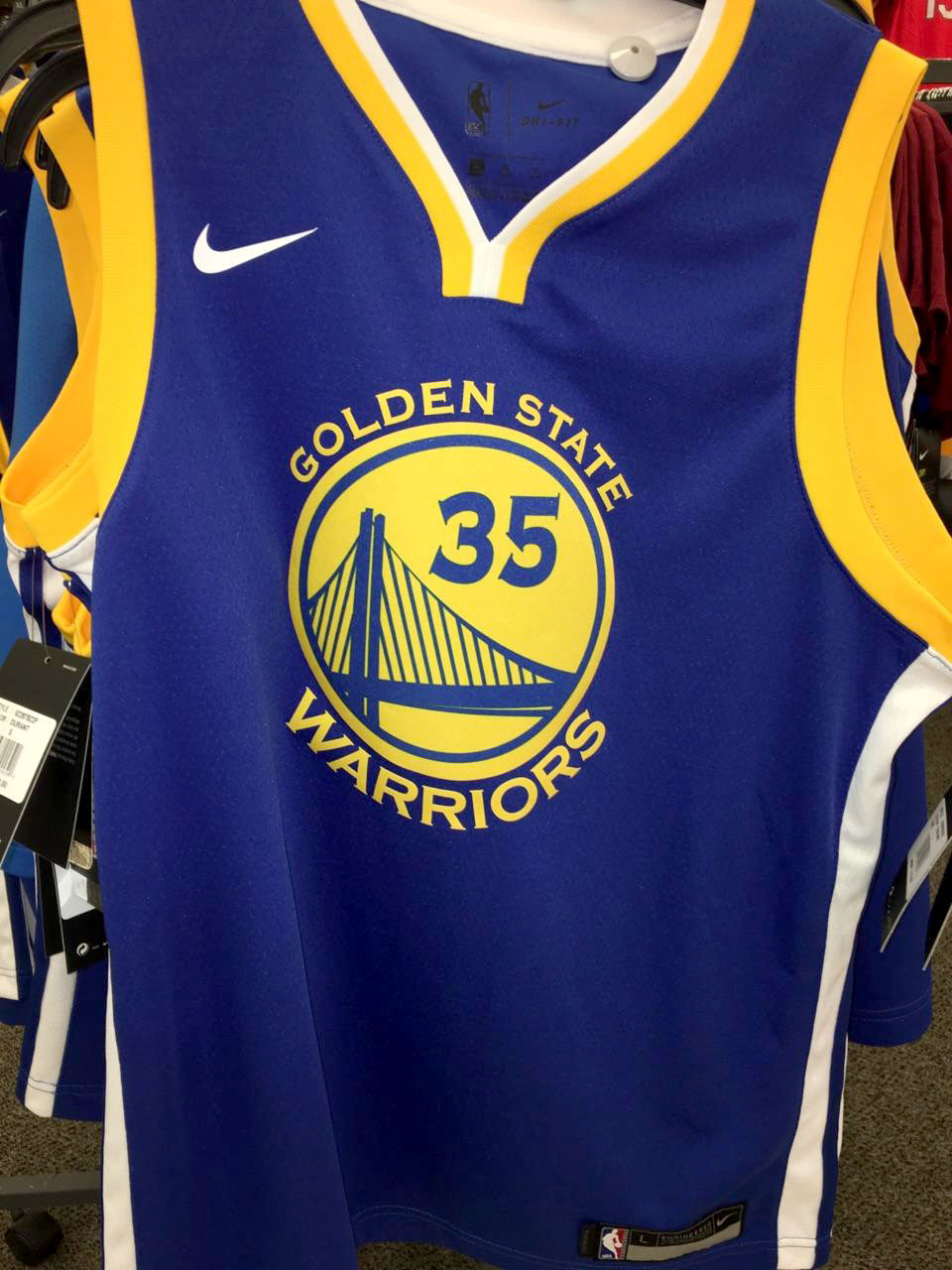 The San Francisco Warriors jersey at Dicks Sporting Goods for 75$.