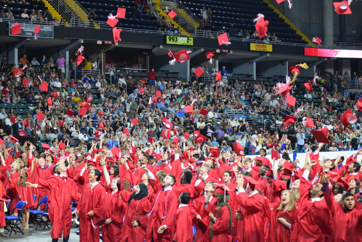 Class of 2018 graduates celebrate at the Family Arena on May 17, 2018.