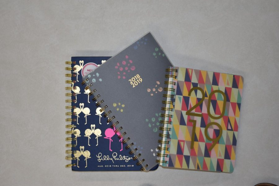 Assortment of planners students bought for the 2018-19 school year.