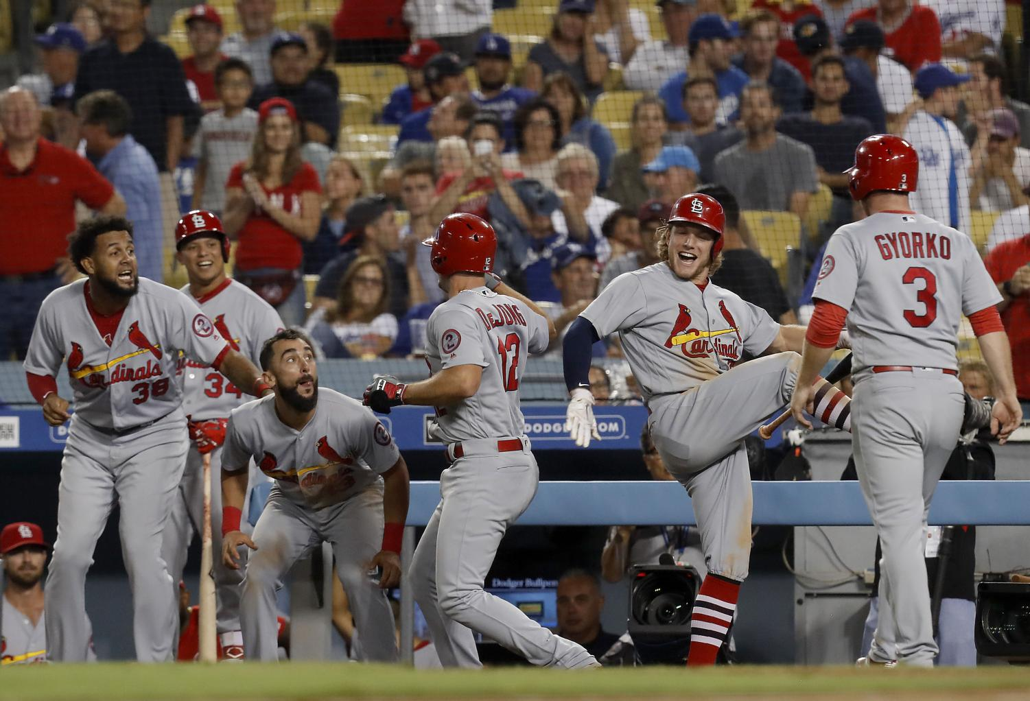 The St. Louis Cardinals' Paul Delong (12) celebrates with teammates after hitting a two-run home run against the Los Angeles Dodgers in the ninth inning on Wednesday, Aug. 22, 2018, at Dodger Stadium in Los Angeles. The Cardinals won, 3-1. (Luis Sinco/Los Angeles Times/TNS)