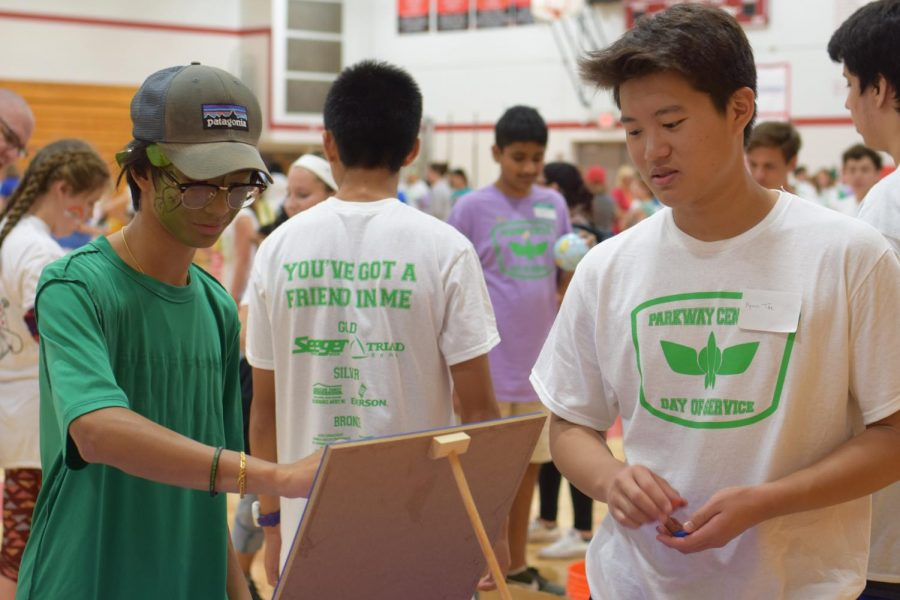 Junior Hyun Tae Joo plays a game with his buddy during carnival time at Day of Service.
