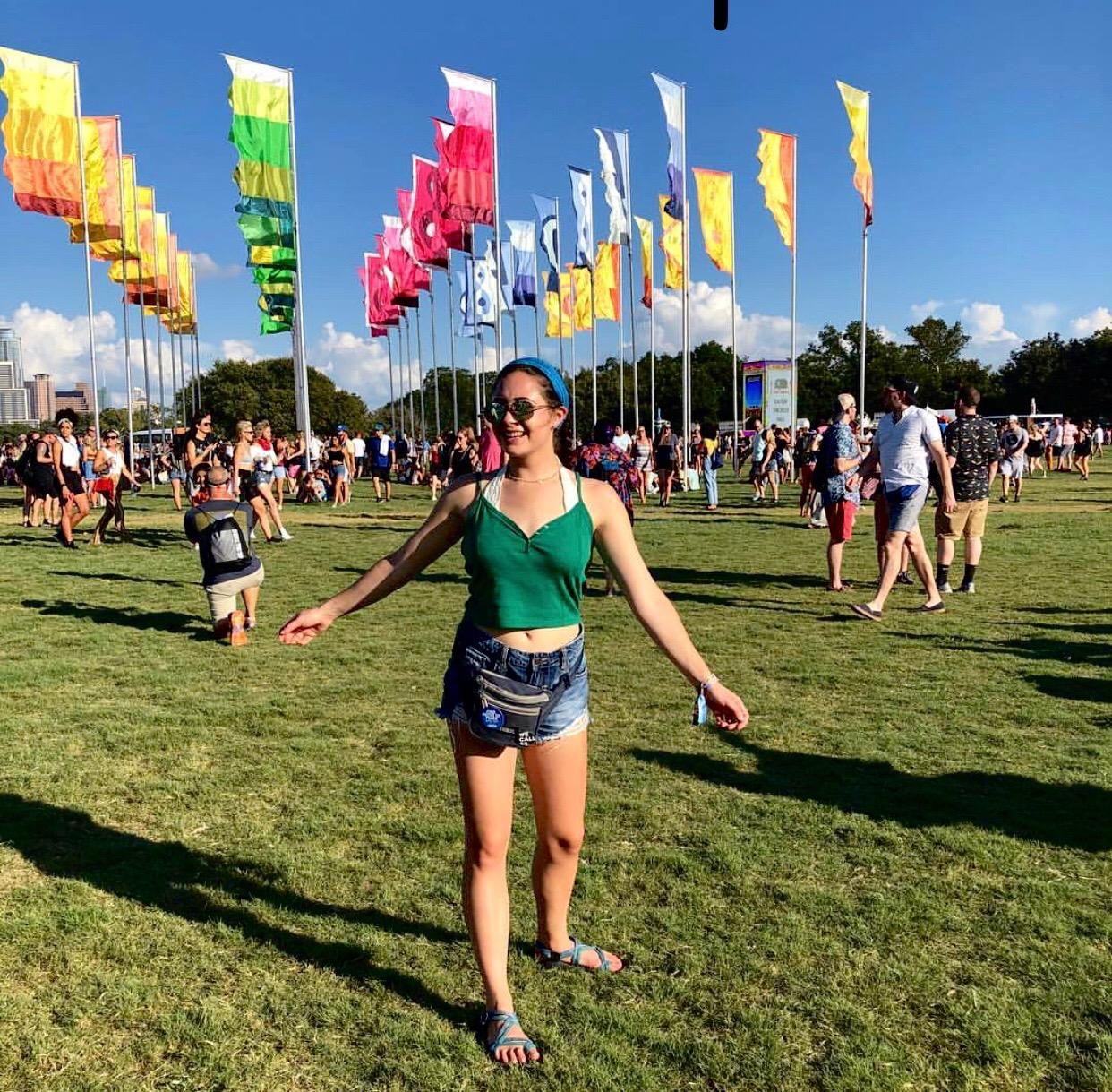 Junior Kaitlyn Goldstein enjoying the atmosphere at Austin City Limits Music Festival.