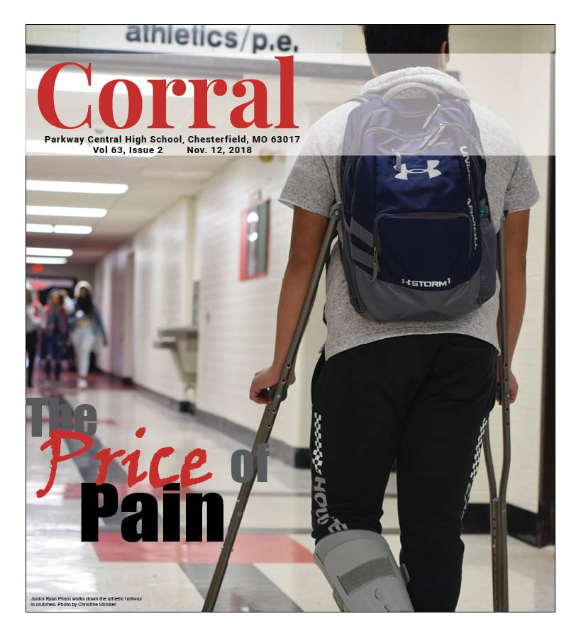 Junior+Ryan+Pham+walks+down+the+athletic+hallway+in+crutches.+