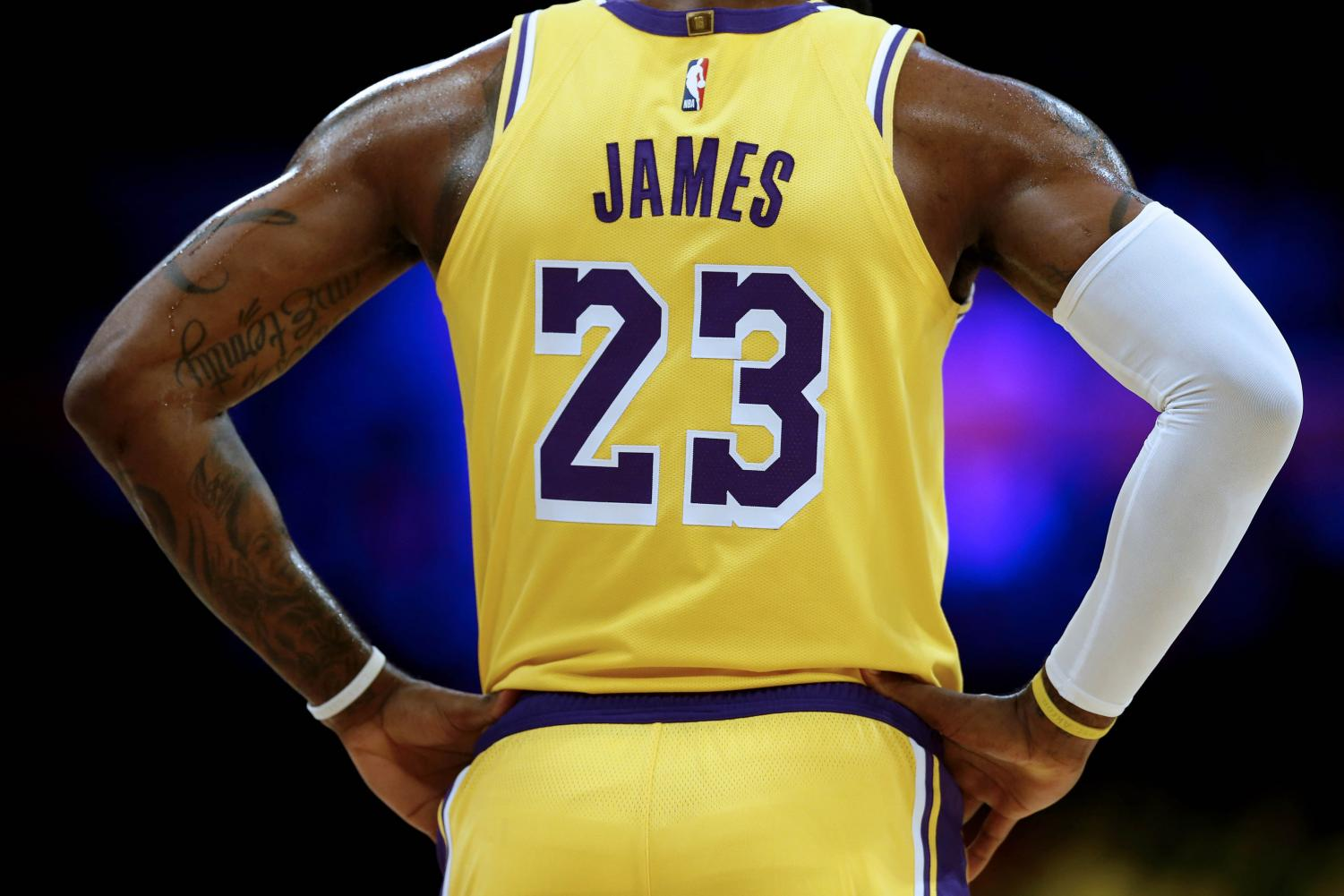 Los Angeles Lakers forward LeBron James (23) in a game against the Denver Nuggets in the first half on Tuesday, Oct. 2, 2018 at the Staples Center in Los Angeles, Calif. (Gary Coronado/Los Angeles Times/TNS)