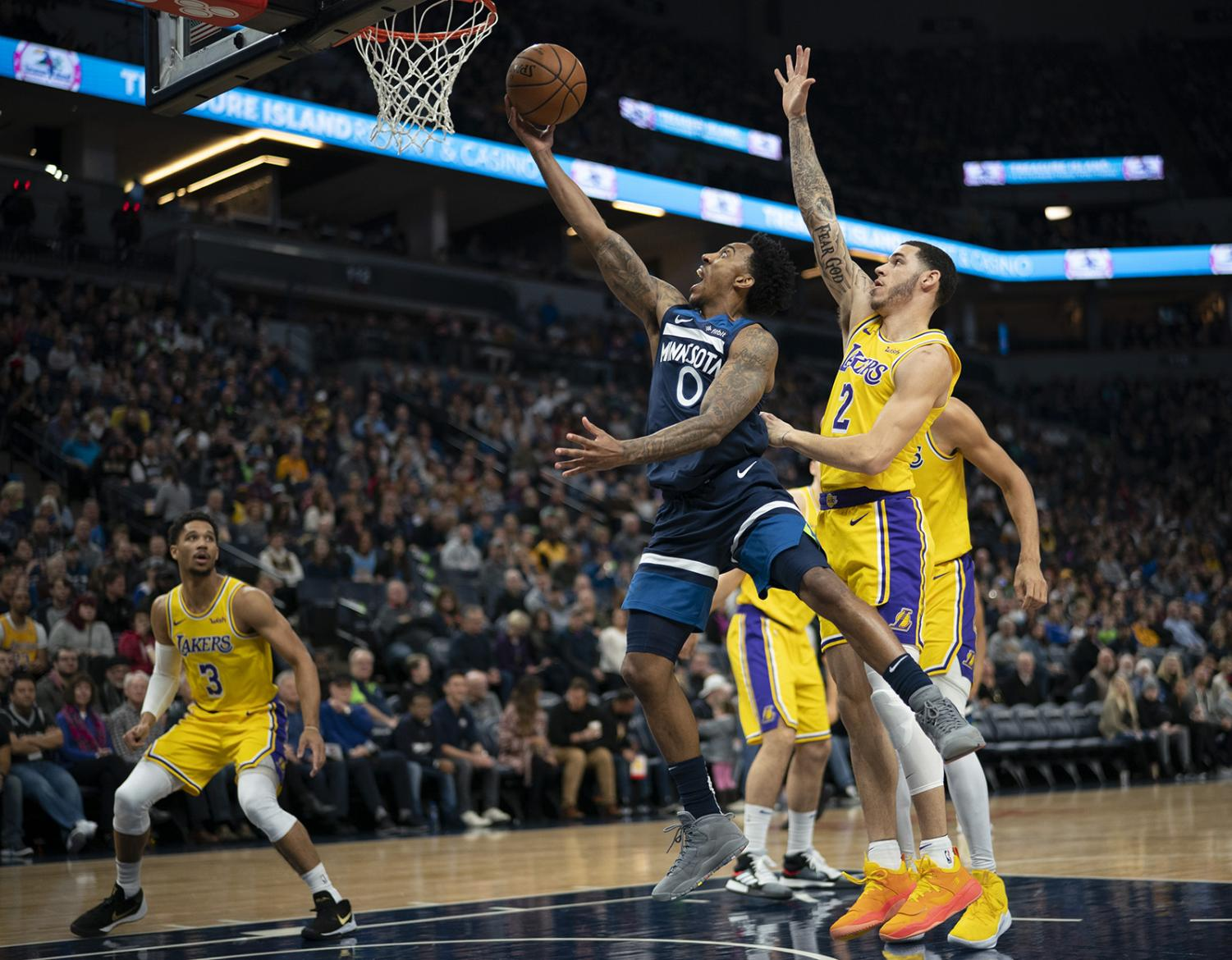 Minnesota Timberwolves guard Jeff Teague (0) drives to the net in the first quarter against the Los Angeles Lakers on Sunday, Jan. 6, 2019 at Target Center in Minneapolis, Minn. He finished with 15 points. The Minnesota Timberwolves defeated the Los Angeles Lakers, 108-86. (Jeff Wheeler/Minneapolis Star Tribune/TNS)