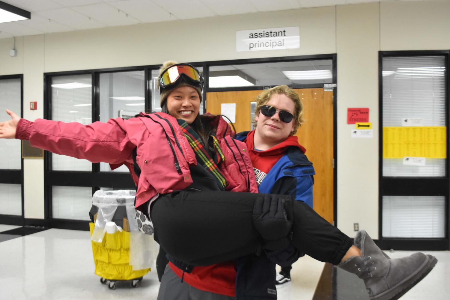 Seniors Tiffany Huang and Stephen Unk dressed up in their ski wear showing school spirit during KISS week.