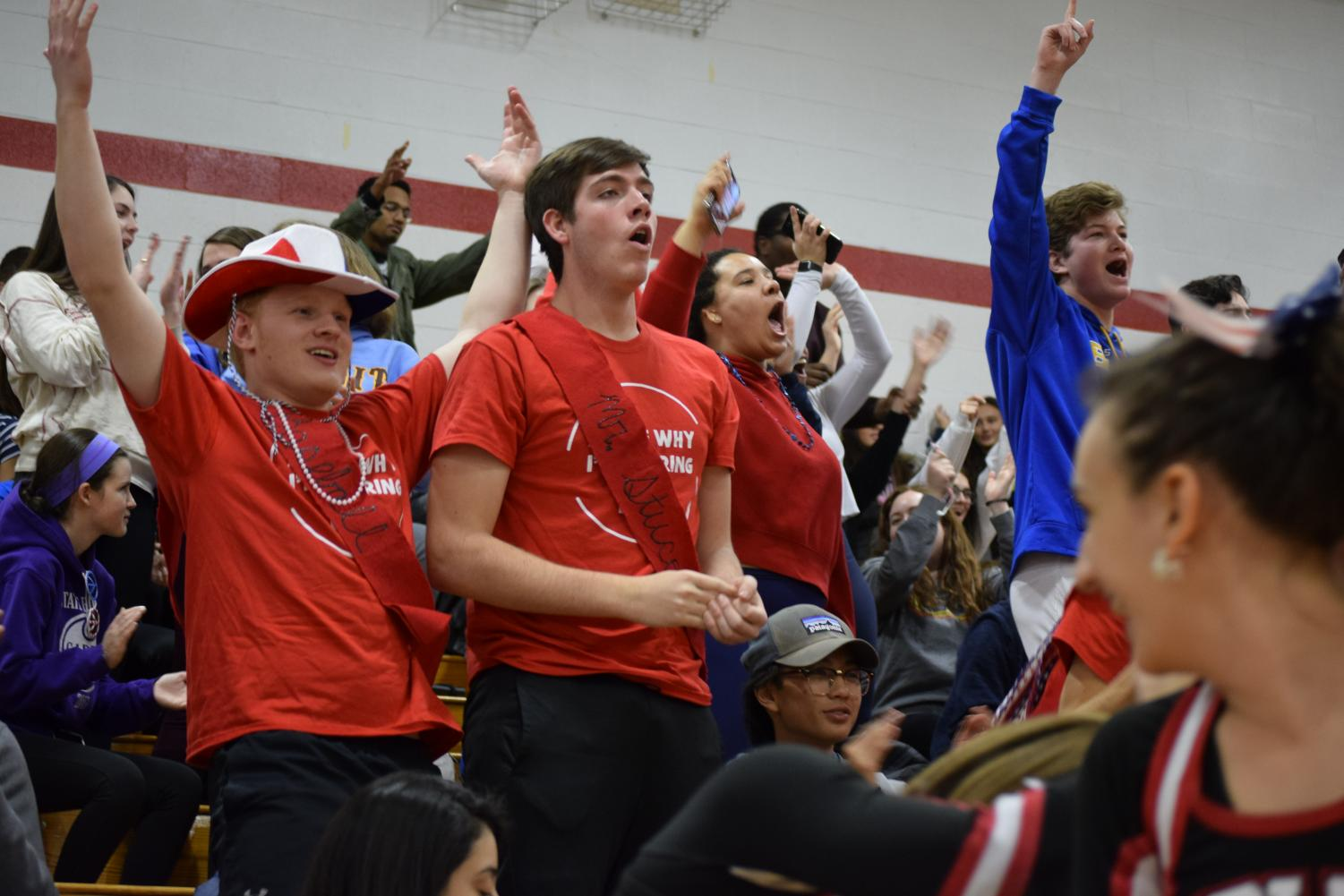 Students Eric White and Jacob Nenninger cheer at the Winter Pep Rally.