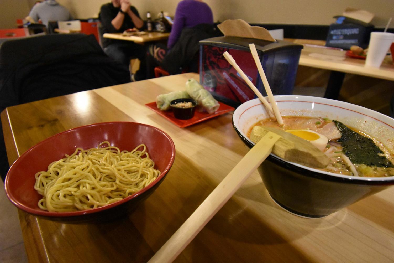 Nudo's O'Miso Spicy ramen, extra noodles, and pork spring rolls.