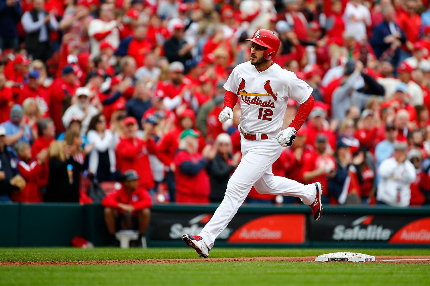 The St. Louis Cardinals' Paul DeJong rounds third base after hitting a home run against the San Diego Padres in the fourth inning at Busch Stadium in St. Louis on Friday, April 5, 2019. The Padres won, 5-3. **FOR USE WITH THIS STORY ONLY** (Dilip Vishwanat/Getty Images/TNS)