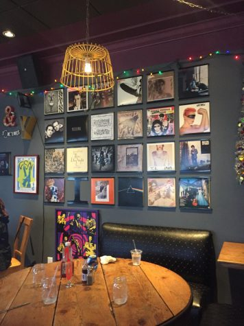 The impressive wall of album covers at The Wolf. March 30, 2019. Photos by Shoshana Weinstein.
