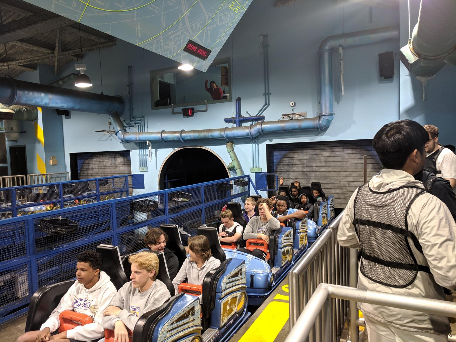 Students get ready to ride Mr. Freeze.