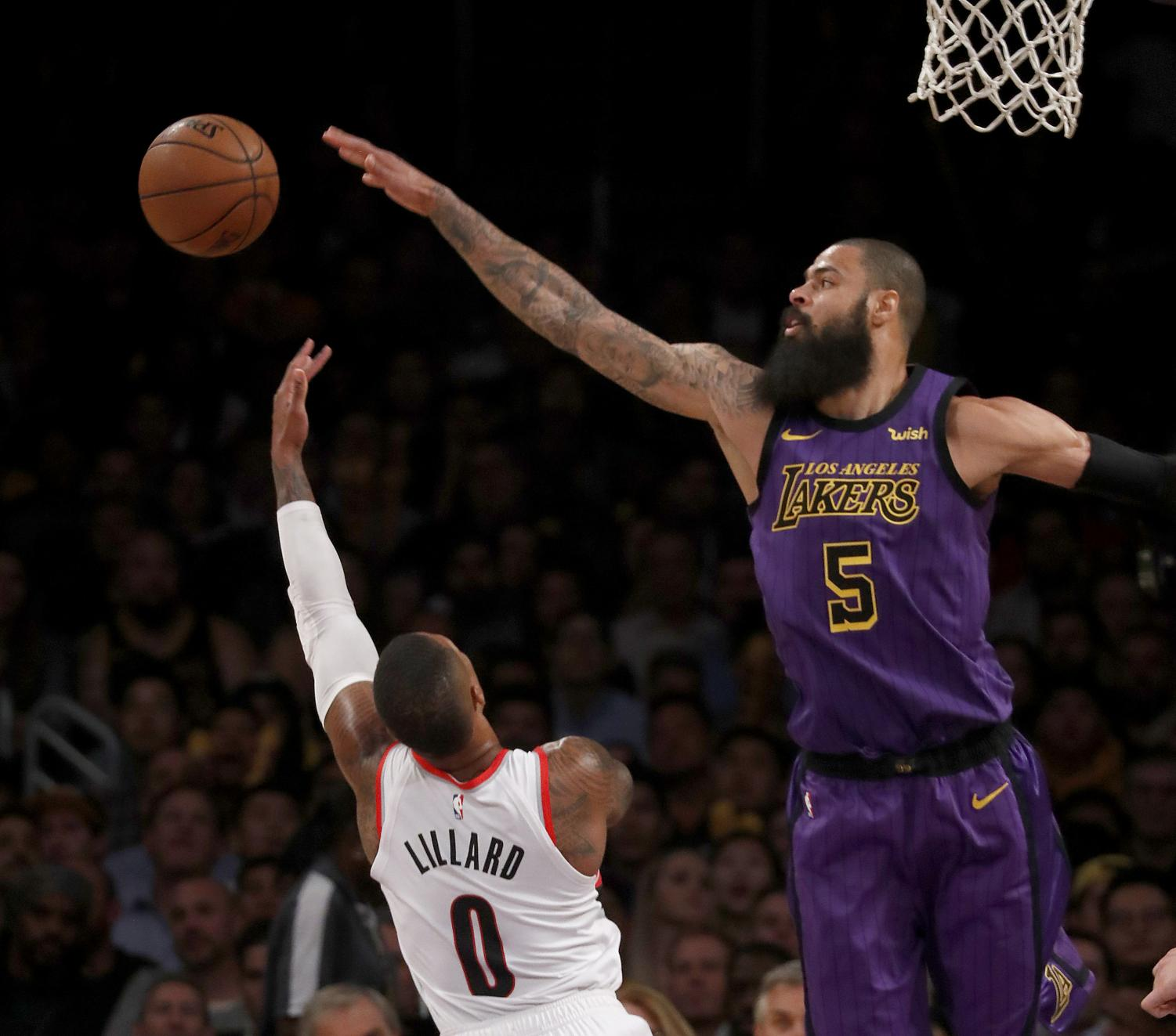 The Los Angeles Lakers' Tyson Chandler (5) blocks a shot by the Portland Trailblazers' Damian Lillard in the second quarter on Wednesday, Nov. 14, 2018, at Staples Center in Los Angeles. The Lakers won, 126-117. (LuisSinco/Los Angeles Times/TNS)