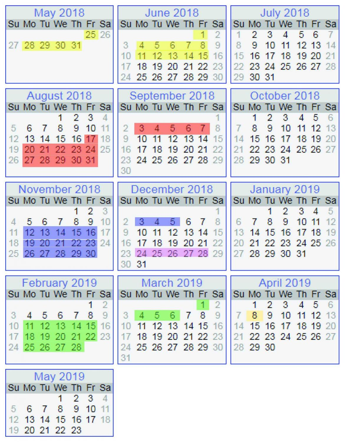 This is an example of a schedule that would potentially replace the summer vacation schedule. Instead of having a sinlge long break, this schedule spreads out all the breaks into four main sections for each season. The shaded regions are breaks and the unshaded regions are school days. Accompanying these breaks would be an additional 11 days for scattered additional breaks not listed on the calendar.