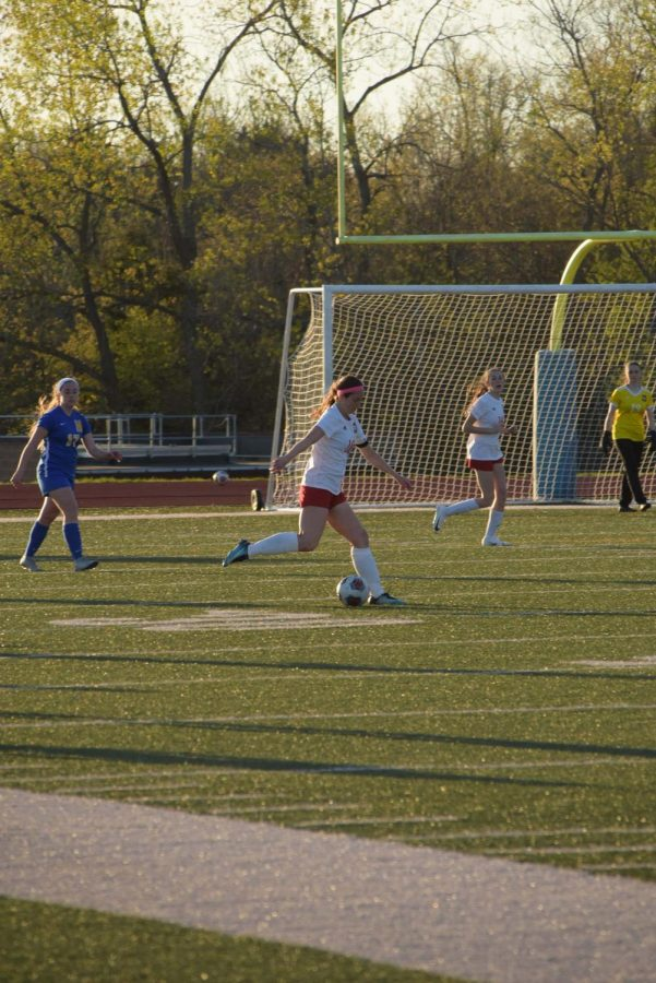 Photo of senior Talia Emch kicks the ball during a game against Francis Howell. The Vikings won the game 8-1, and Emch scored the single goal for the Colts. Photo by Wagner Photography.