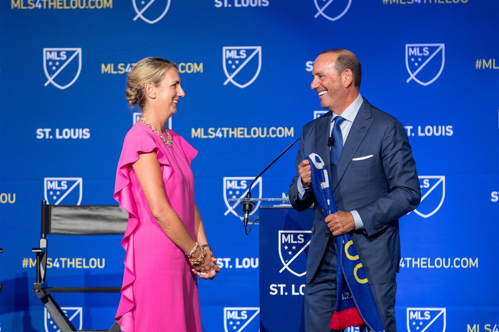 Caroline Kindle Betz and MLS Commisioner Don Garber at the MLS team announcement on Tuesday, Aug. 20.