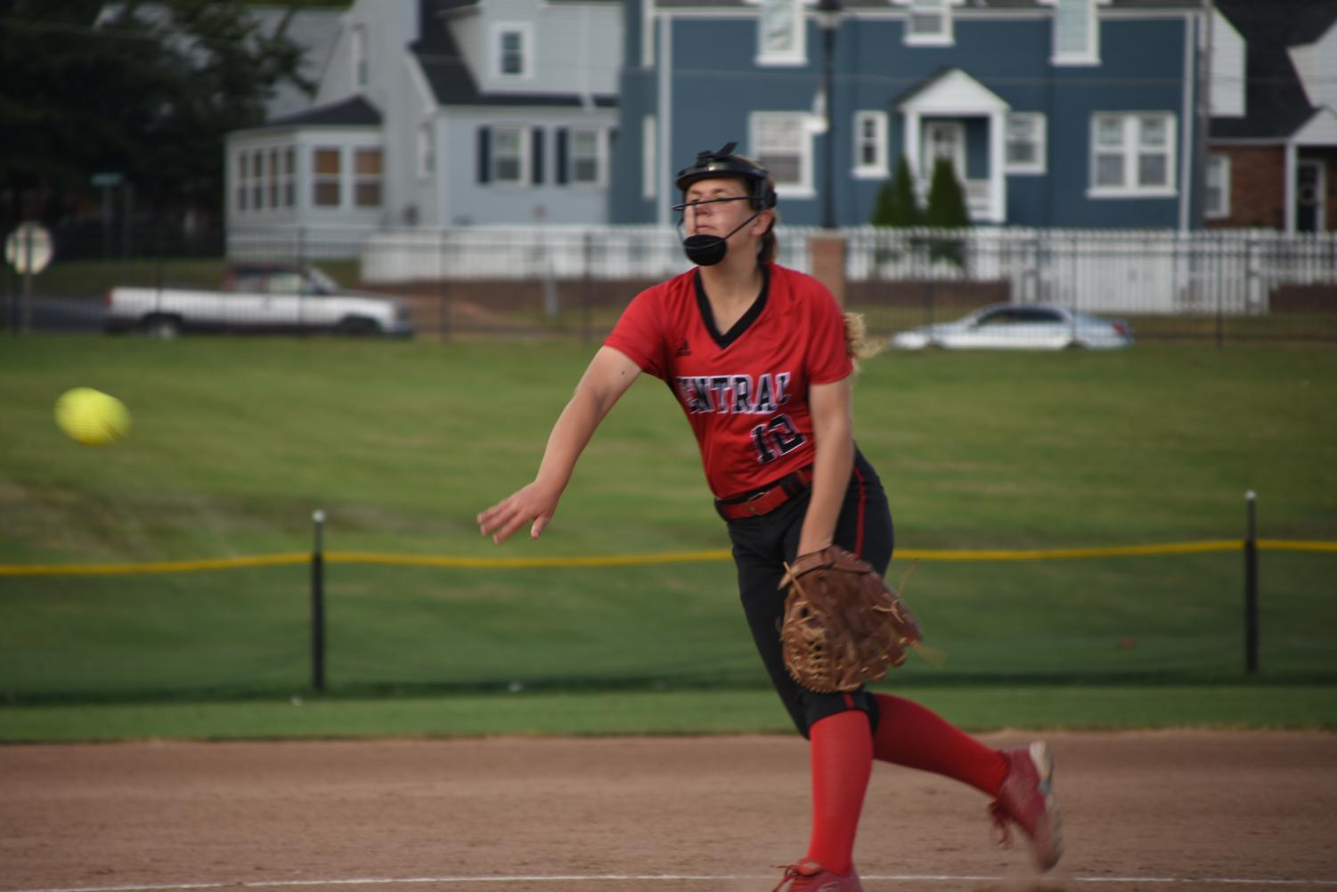 Junior Rylie Perry throws a pitch in a game against Ritenour on 10.1.18.