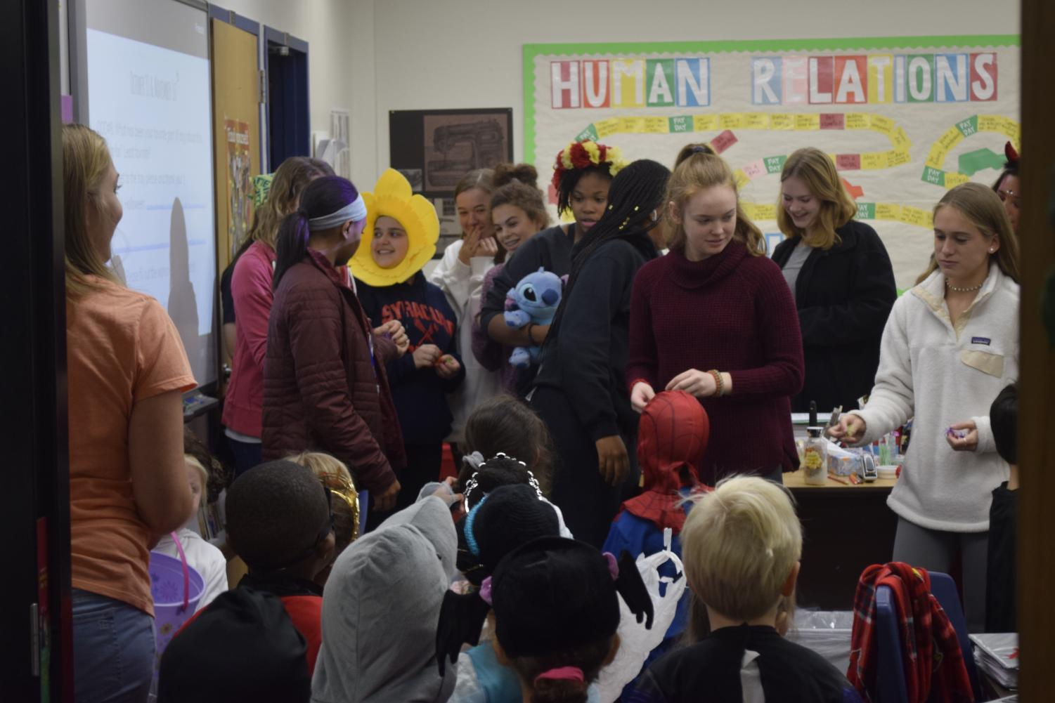 Jaclyn Deelo's Child Development class welcomes preschoolers in their annual Halloween Parade.
