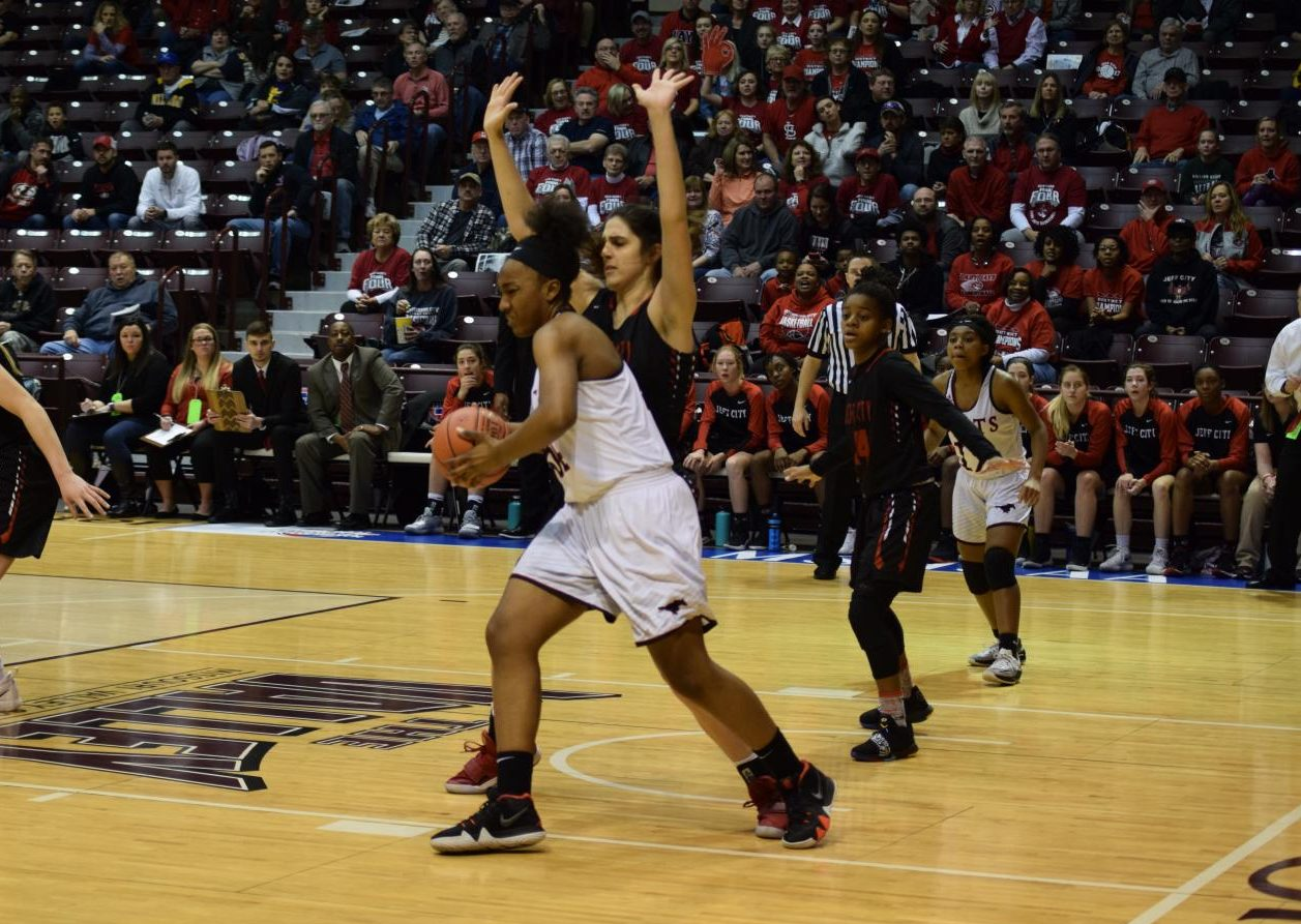 Jayla Kelley works for position during the Final Four game at the Missouri State Championship tournament in 2019.