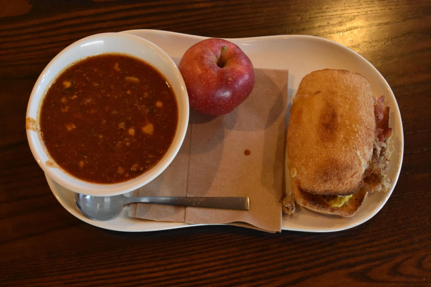 I ordered a Cuban sandwich, turkey chili soup, and an apple from the Four Seasons Shopping Center location.