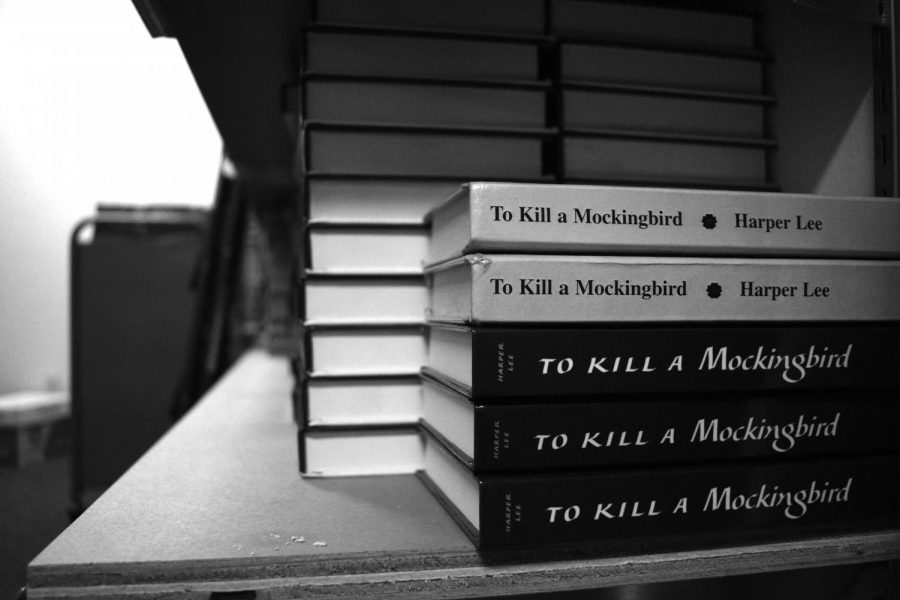 The+%E2%80%9CTo+Kill+a+Mockingbird%E2%80%9D+section+of+the+book+storage+room+in+the+English+department.+Amidst+the+discussion%2C+books+such+as+%E2%80%9CTo+Kill+a+Mockingbird%2C%E2%80%9D+as+well+as+%E2%80%9CThe+Adventures+of+Huckleberry+Finn%2C%E2%80%9D+%E2%80%9CLord+of+the+Flies%2C%E2%80%9D+and+%E2%80%9CRomeo+and+Juliet%2C%E2%80%9D+have+been+pointed+to+as+examples+of+less+diverse+texts.+Whether+because+of+uncomfortable+language%2C+lack+of+diversity%2C+or+simply+being+too+old%2C+texts+like+these+have+been+deemed+alienating+by+some.+