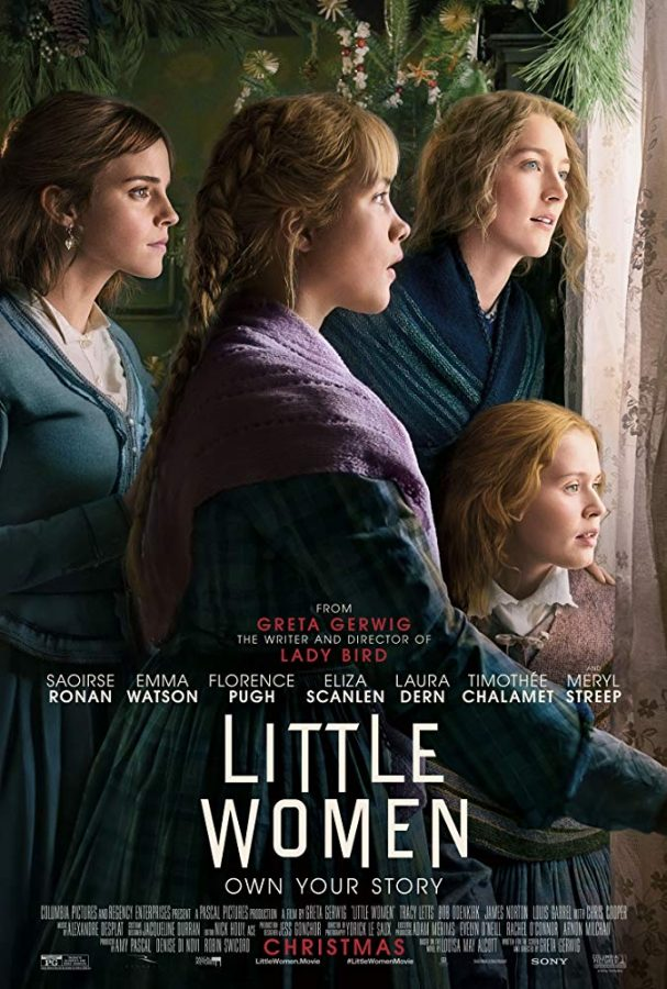 """Little Women"" is directed by Greta Gerwig and stars Saorise Ronan, Timothee Chalamet, Emma Watson, Florence Pugh, and Eliza Scanlen. Based off of the classic novel of the same name, this movie is about four sisters who navigate womanhood, love, and family in the 1860s."