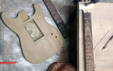 Senior Pavel Borovik's guitar in the beginning stages of the project before the individual parts were attached.