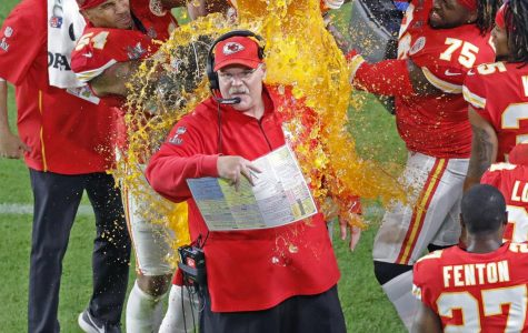 Players dunk Kansas City Chiefs head coach Andy Reid with Gatorade after they defeated the San Francisco 49ers at Super Bowl LIV at Hard Rock Stadium in Miami Gardens, Fla. on Sunday, Feb. 2, 2020.