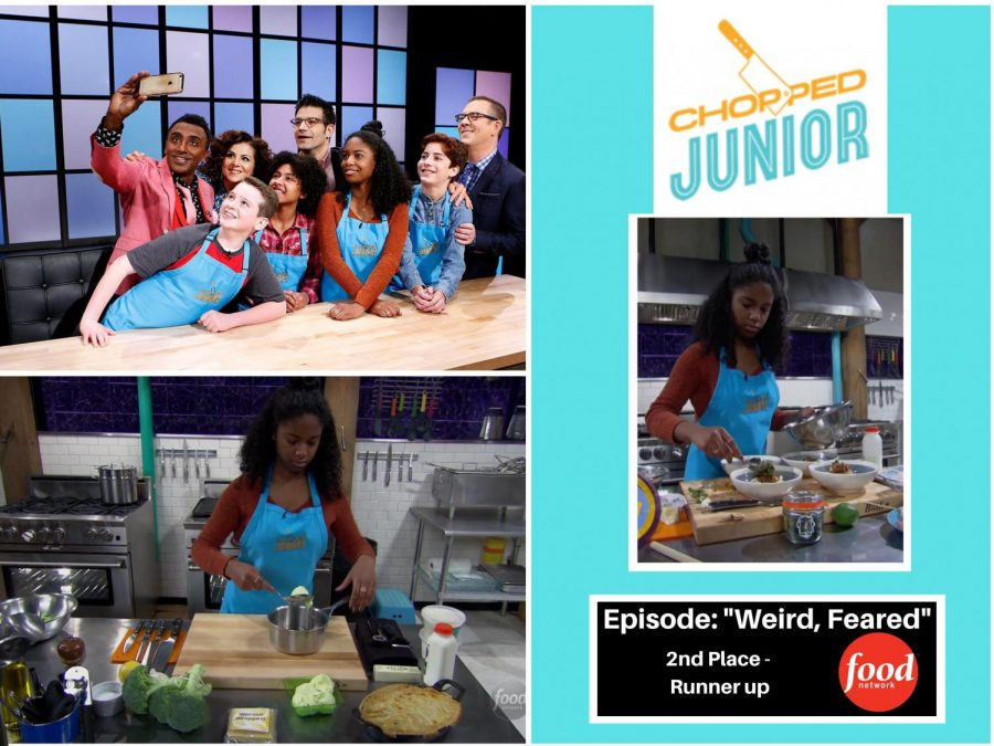 Junior Ayla Davis cooking at Chopped Junior. Photo courtesy of Davis.