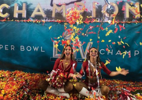 PCH alum Stefanie Hillhouse(right) with fellow chief cheerleader at the Super Bowl game after the Kansas City Chiefs won for the first time in 50 years. Photo provided by Stefanie Hillhouse.