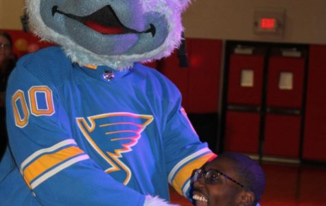 The St. Louis Blues mascot Louie makes a surprise visit to the first ever PCH Dance Marathon. DM was held in gym B on Saturday March 7. The students raised $24,764.01 by Saturday night. Waldy Upchurch (12) participated at Dance Marathon.
