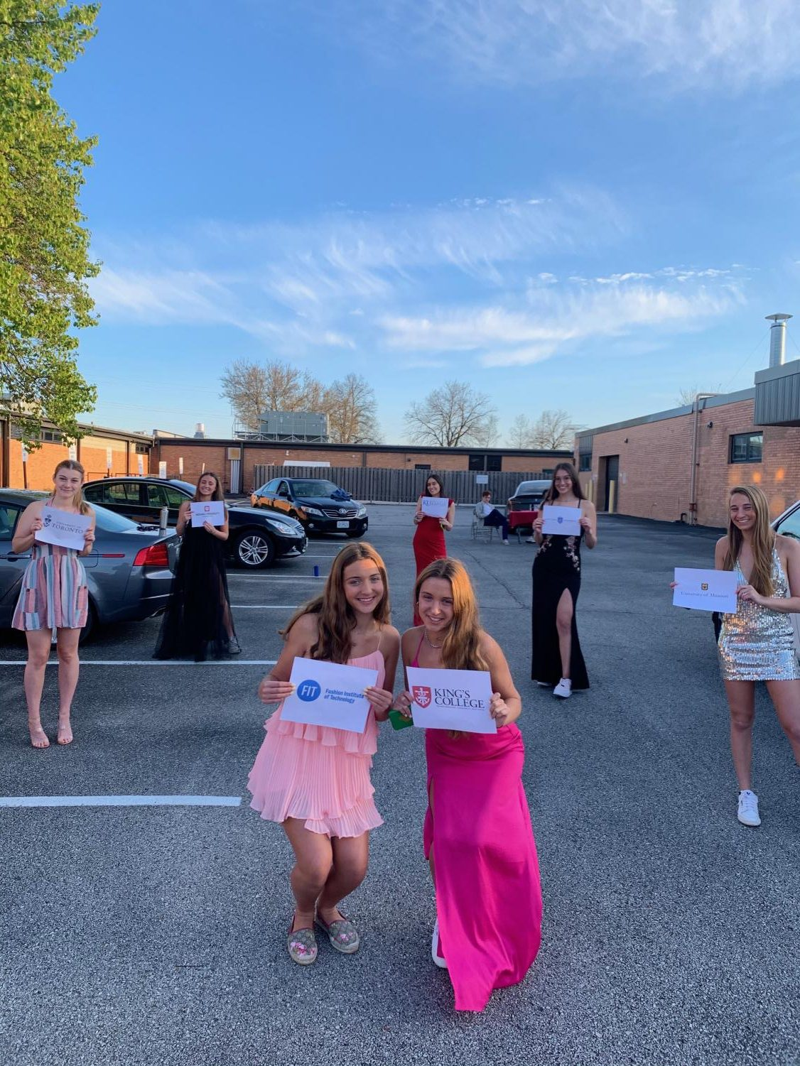 Seniors Mackenna Westerfield, Madison Westerfield, Sophia Chelist, Michelle Korenfeld, Hannah Berry,  Lindsey Ormont and Sophie Lowis on the Parkway Central parking lot on prom night. Since prom was cancelled a group of seniors got dressed up and celebrated prom together.