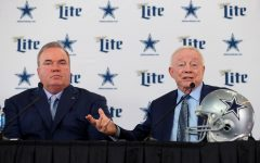 Dallas Cowboys owner and general manager Jerry Jones introduces new head coach Mike McCarthy at a press conference.