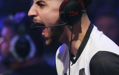 Orlando Magic player Daniel Tlais (DT) screams during the NBA 2K