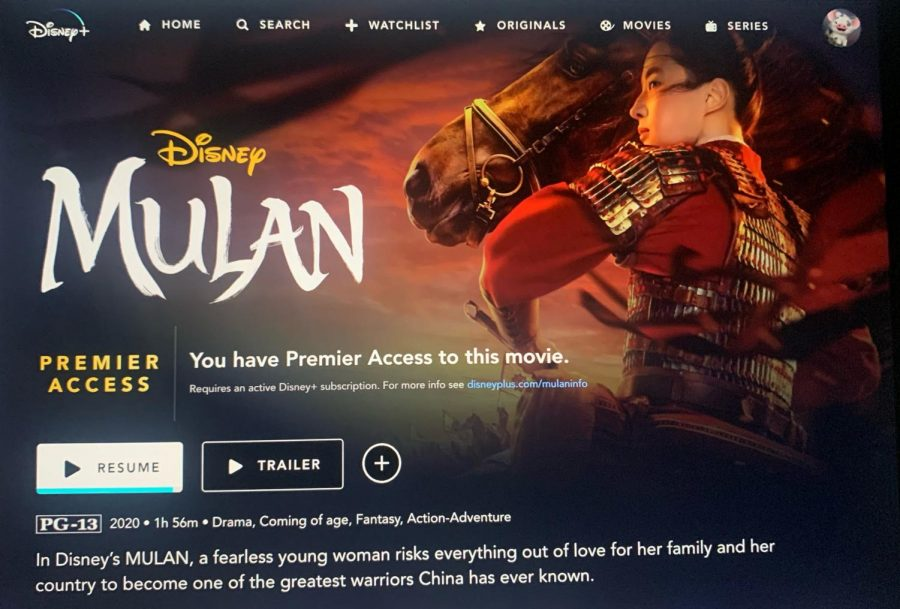 Mulan streaming and information page on Disney+ website.