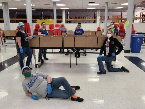 Parkway staff preparing meal boxes for the week. Photo provided by:Marlene Pfeifferis
