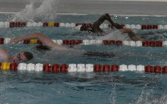 Boys swimmers swimming laps on the first day of practice.