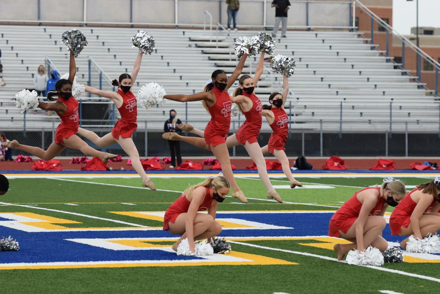 The dance team performs at halftime at the first football game of the year on Oct. 3, 2020 at Francis Howell stadium.