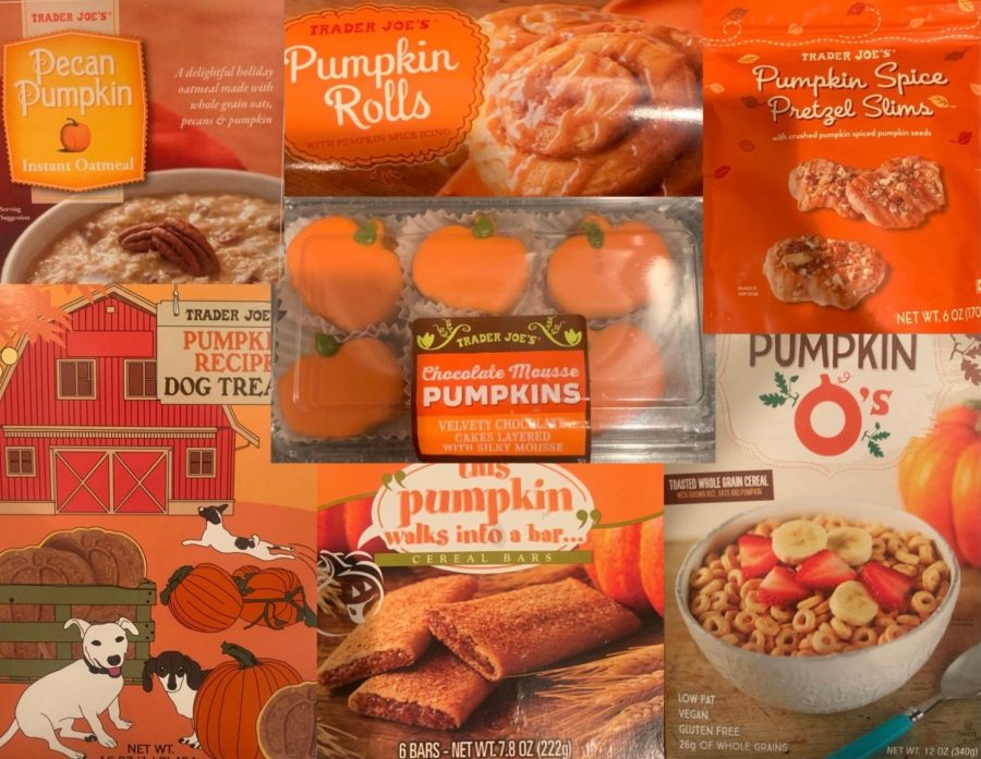 Some+of+the+pumpkin+flavored+items+that+Trader+Joe%27s+is+offering+this+fall+season.