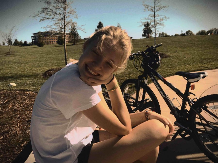 Freshman, Ellie Sioumcas on a bike ride with friend on  May 1, 2020.
