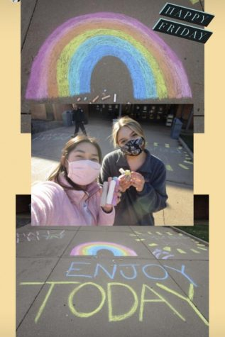 Carine Heller, junior, posted these images of the chalk at the front of the school with the inspiring messages from Day of Kindness.
